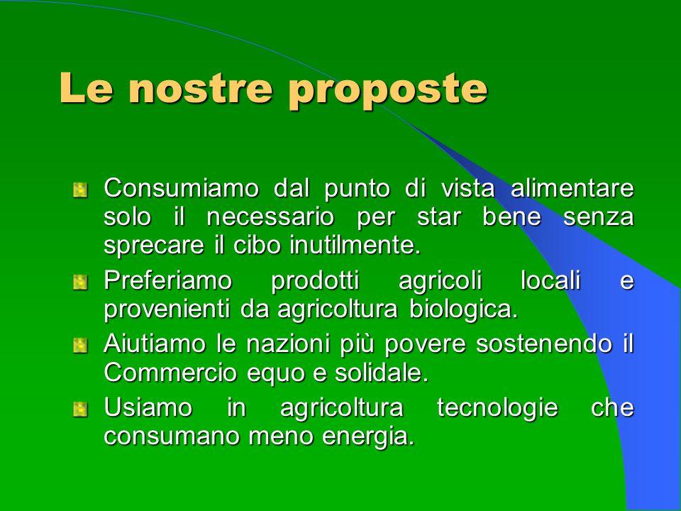Le nostre proposte Consumiamo dal punto di vista alimentare solo il necessario per star bene senza sprecare il cibo inutilmente. Preferiamo prodotti a