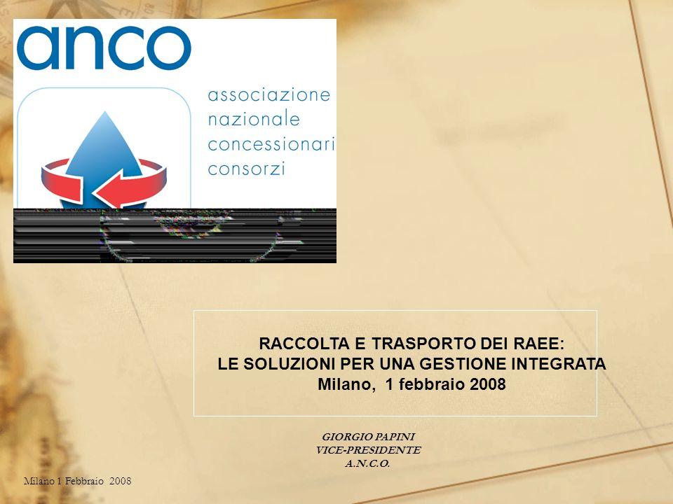 Milano 1 Febbraio 2008Giorgio Papini OPERATORI RAEE LOGISTICA IMPIANTO DI STOCCAGGIO E/O PRE TRATTAMENTO IMPIANTO DI TRATTAMENTO