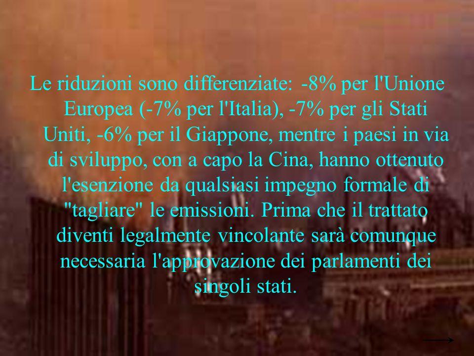 Simone Pagnanini IVA Le riduzioni sono differenziate: -8% per l Unione Europea (-7% per l Italia), -7% per gli Stati Uniti, -6% per il Giappone, mentre i paesi in via di sviluppo, con a capo la Cina, hanno ottenuto l esenzione da qualsiasi impegno formale di tagliare le emissioni.