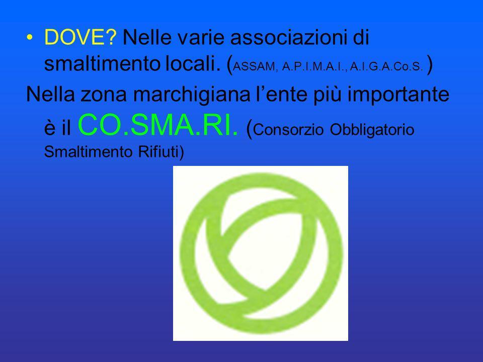 DOVE? Nelle varie associazioni di smaltimento locali. ( ASSAM, A.P.I.M.A.I., A.I.G.A.Co.S. ) Nella zona marchigiana lente più importante è il CO.SMA.R