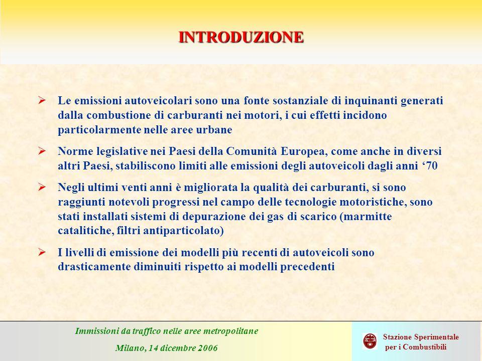 Immissioni da traffico nelle aree metropolitane Milano, 14 dicembre 2006 Stazione Sperimentale per i Combustibili CONVERTITORE CATALITICO TRIFUNZIONALE (Three-Way Catalyst - TWC) A differenza del Pt, il Pd è più sensibile allavvelenamento da parte dello zolfo nella benzina.