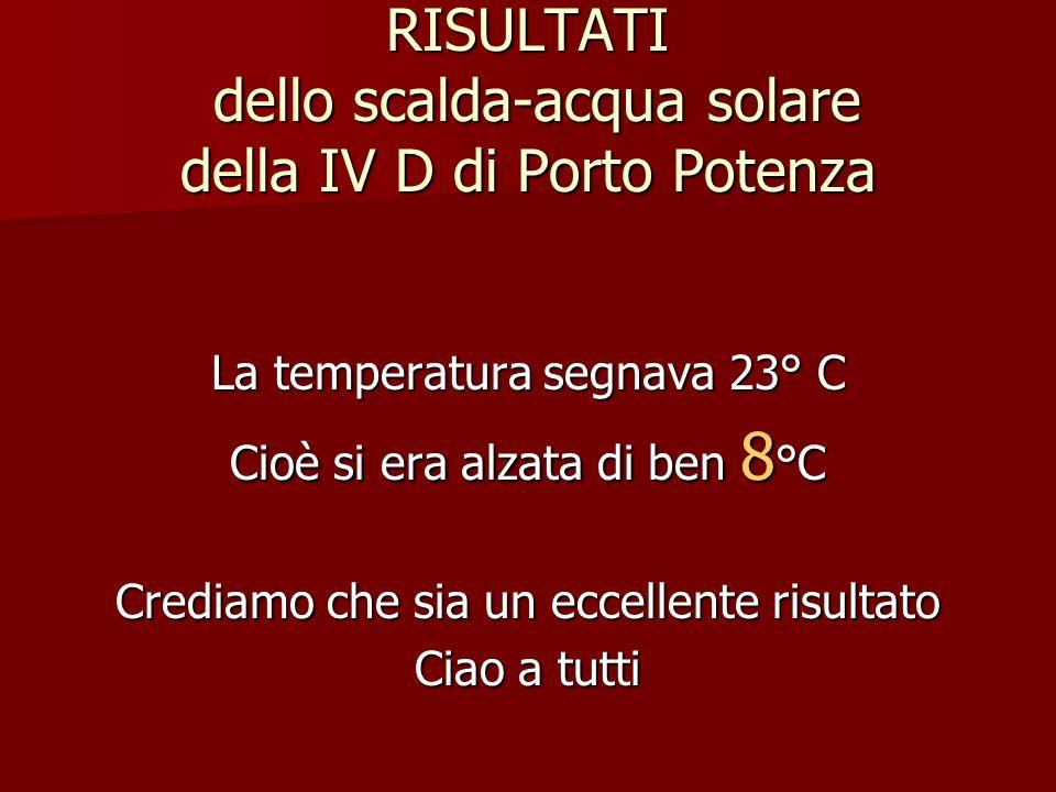 RISULTATI dello scalda-acqua solare della IV D di Porto Potenza La temperatura segnava 23° C Cioè si era alzata di ben 8 °C Crediamo che sia un eccellente risultato Ciao a tutti