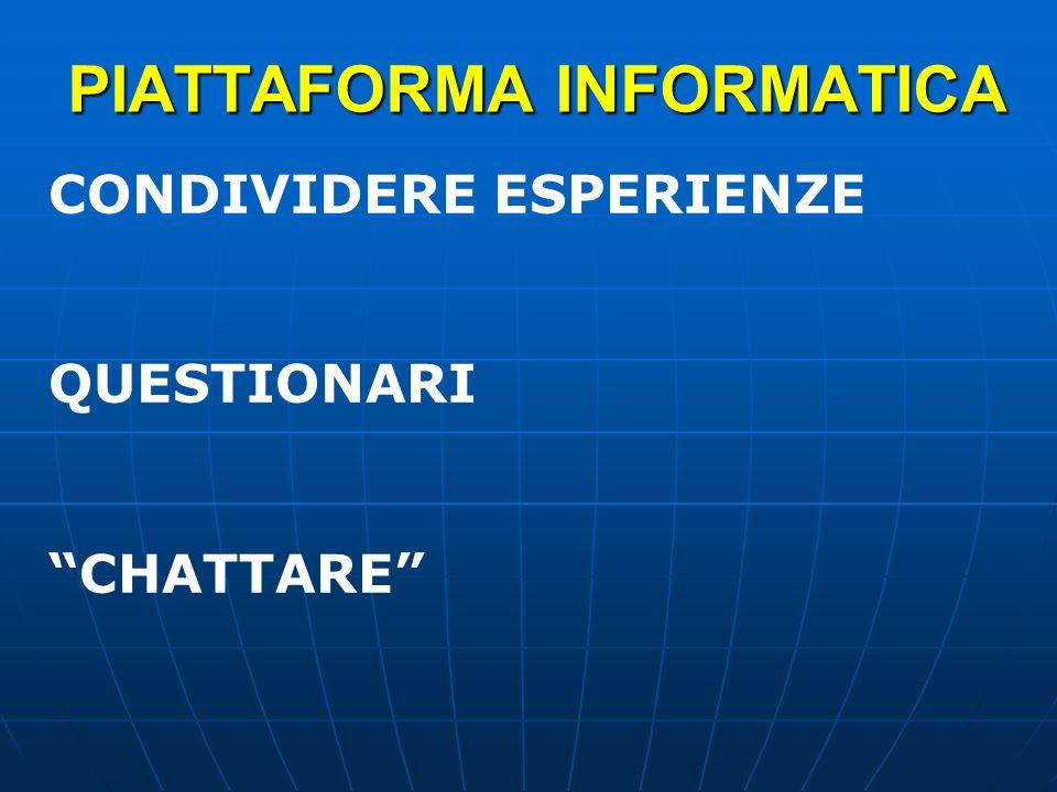 PIATTAFORMA INFORMATICA CONDIVIDERE ESPERIENZE QUESTIONARI CHATTARE