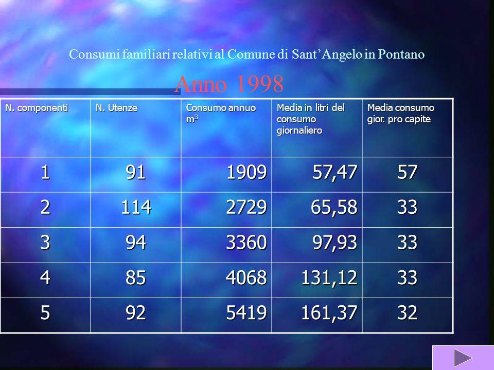 Consumi familiari relativi al Comune di SantAngelo in Pontano Anno 1998 N.