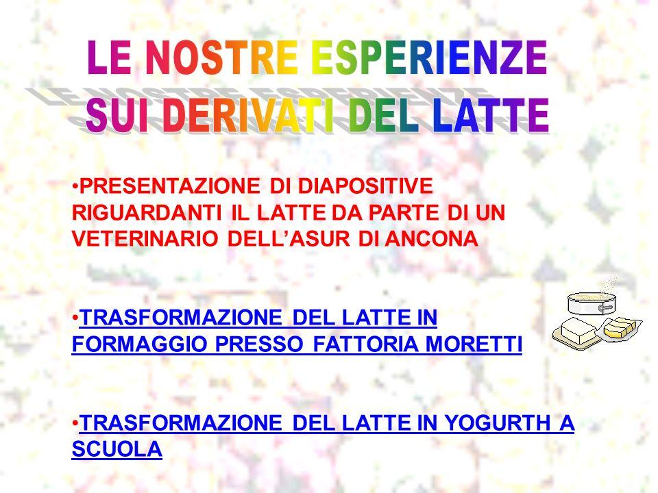 PRESENTAZIONE DI DIAPOSITIVE RIGUARDANTI IL LATTE DA PARTE DI UN VETERINARIO DELLASUR DI ANCONA TRASFORMAZIONE DEL LATTE IN FORMAGGIO PRESSO FATTORIA