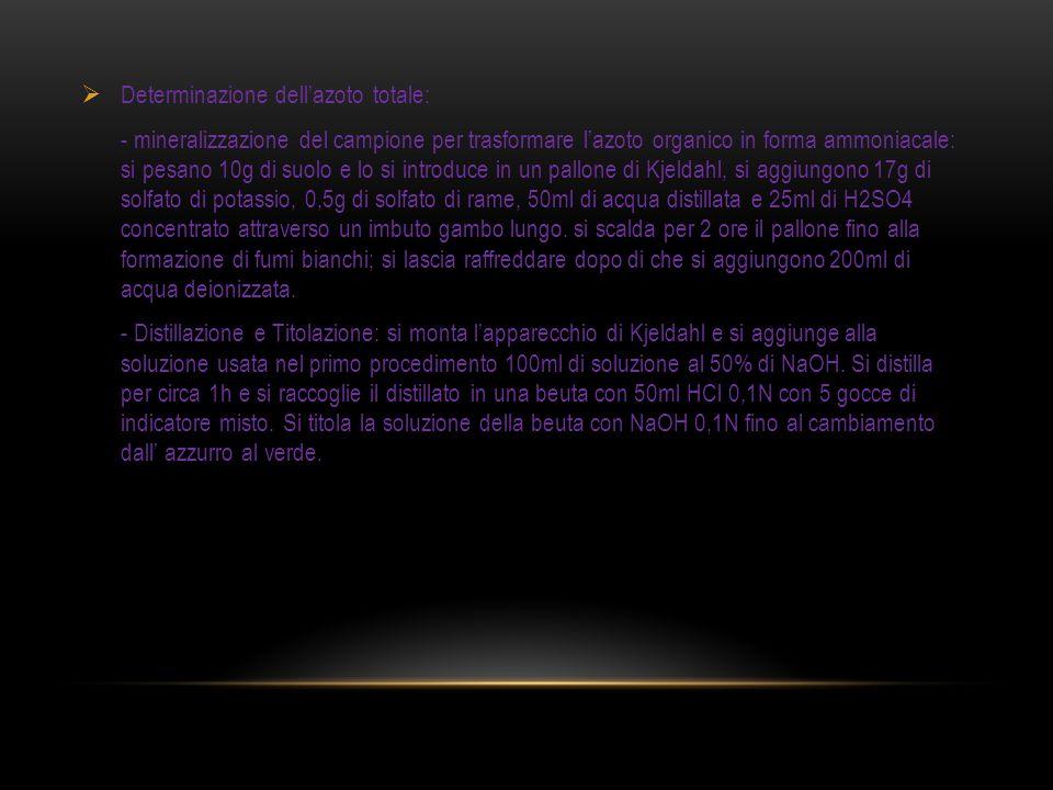 Determinazione dellazoto totale: - mineralizzazione del campione per trasformare lazoto organico in forma ammoniacale: si pesano 10g di suolo e lo si introduce in un pallone di Kjeldahl, si aggiungono 17g di solfato di potassio, 0,5g di solfato di rame, 50ml di acqua distillata e 25ml di H2SO4 concentrato attraverso un imbuto gambo lungo.