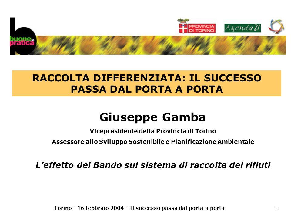 Torino - 16 febbraio 2004 - Il successo passa dal porta a porta 2 Programma Provinciale Gestione Rifiuti (approvato nel 1998) fissa come obiettivo di RD il 47% da raggiungere entro il 2003