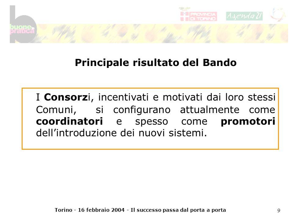 Torino - 16 febbraio 2004 - Il successo passa dal porta a porta 9 I Consorzi, incentivati e motivati dai loro stessi Comuni, si configurano attualmente come coordinatori e spesso come promotori dellintroduzione dei nuovi sistemi.