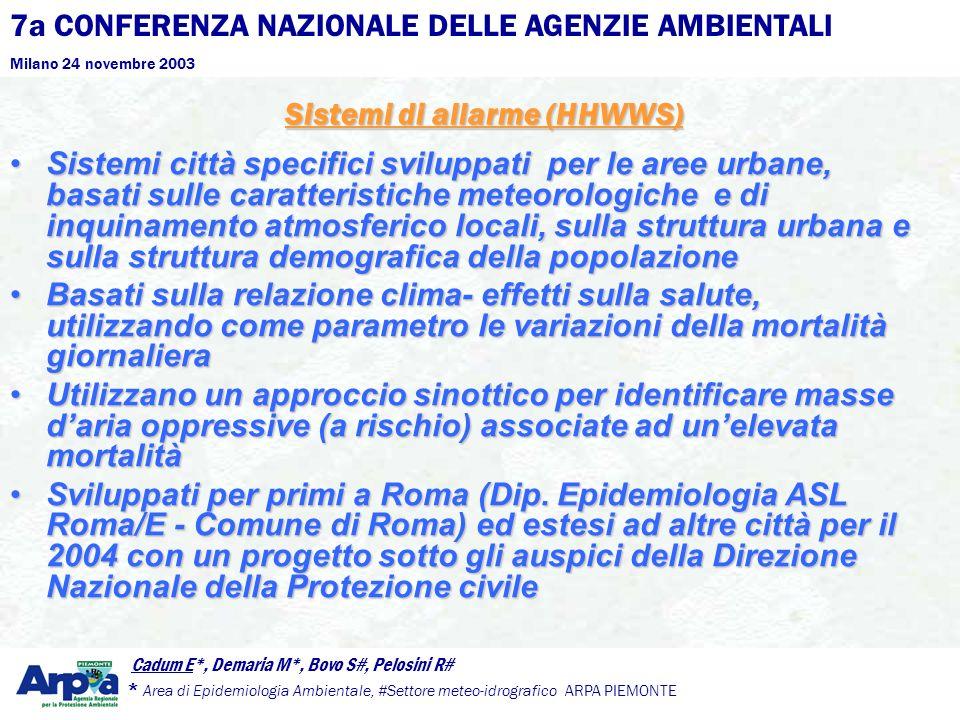 7a CONFERENZA NAZIONALE DELLE AGENZIE AMBIENTALI Milano 24 novembre 2003 Cadum E*, Demaria M*, Bovo S#, Pelosini R# * Area di Epidemiologia Ambientale, #Settore meteo-idrografico ARPA PIEMONTE Sistemi di allarme (HHWWS) Sistemi città specifici sviluppati per le aree urbane, basati sulle caratteristiche meteorologiche e di inquinamento atmosferico locali, sulla struttura urbana e sulla struttura demografica della popolazioneSistemi città specifici sviluppati per le aree urbane, basati sulle caratteristiche meteorologiche e di inquinamento atmosferico locali, sulla struttura urbana e sulla struttura demografica della popolazione Basati sulla relazione clima- effetti sulla salute, utilizzando come parametro le variazioni della mortalità giornalieraBasati sulla relazione clima- effetti sulla salute, utilizzando come parametro le variazioni della mortalità giornaliera Utilizzano un approccio sinottico per identificare masse daria oppressive (a rischio) associate ad unelevata mortalitàUtilizzano un approccio sinottico per identificare masse daria oppressive (a rischio) associate ad unelevata mortalità Sviluppati per primi a Roma (Dip.