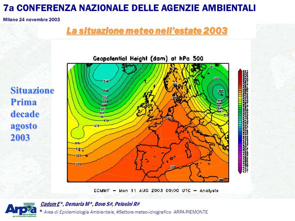 7a CONFERENZA NAZIONALE DELLE AGENZIE AMBIENTALI Milano 24 novembre 2003 Cadum E*, Demaria M*, Bovo S#, Pelosini R# * Area di Epidemiologia Ambientale, #Settore meteo-idrografico ARPA PIEMONTE La situazione meteo nellestate 2003 Situazione Prima decade agosto 2003