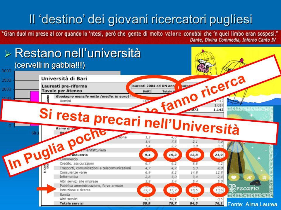 Il destino dei giovani ricercatori pugliesi Restano nelluniversità Restano nelluniversità (cervelli in gabbia!!!) In Puglia poche aziende fanno ricerca Fonte: Alma Laurea Si resta precari nellUniversità