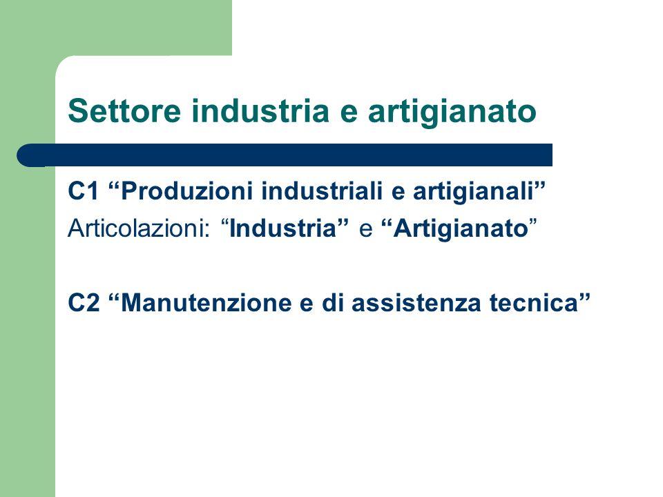 Settore industria e artigianato C1 Produzioni industriali e artigianali Articolazioni: Industria e Artigianato C2 Manutenzione e di assistenza tecnica