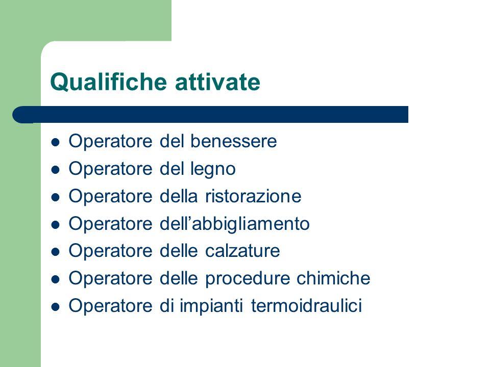 Qualifiche attivate Operatore del benessere Operatore del legno Operatore della ristorazione Operatore dellabbigliamento Operatore delle calzature Ope