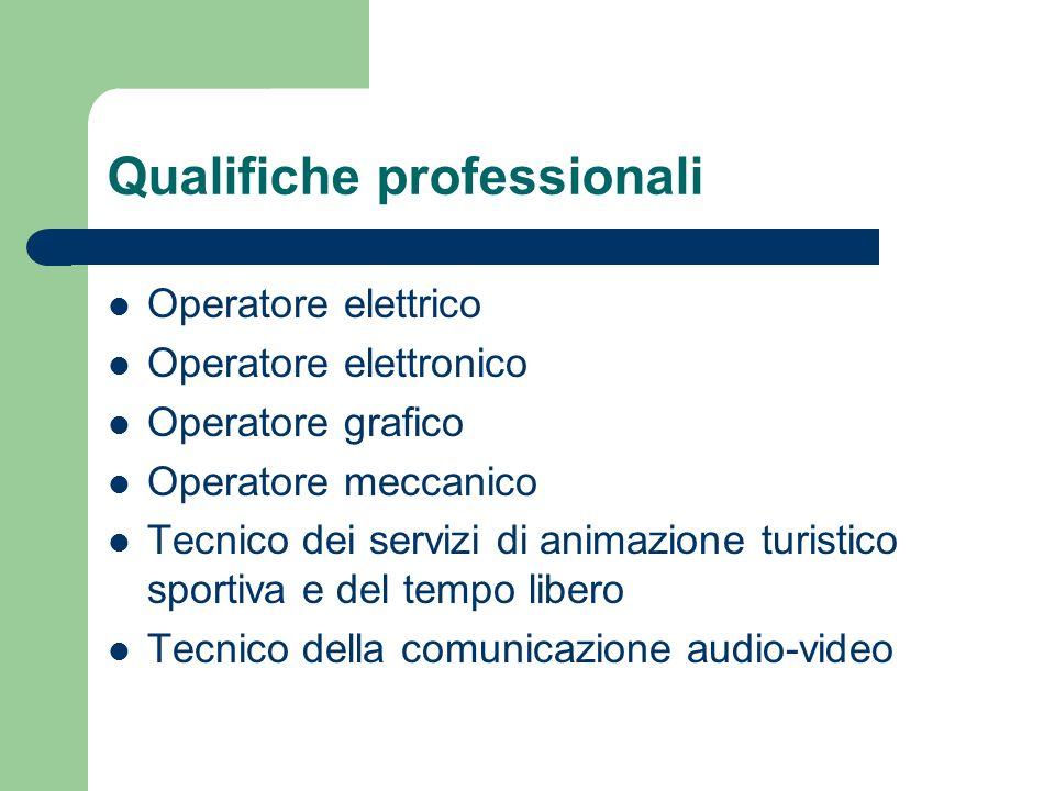 Qualifiche professionali Operatore elettrico Operatore elettronico Operatore grafico Operatore meccanico Tecnico dei servizi di animazione turistico s