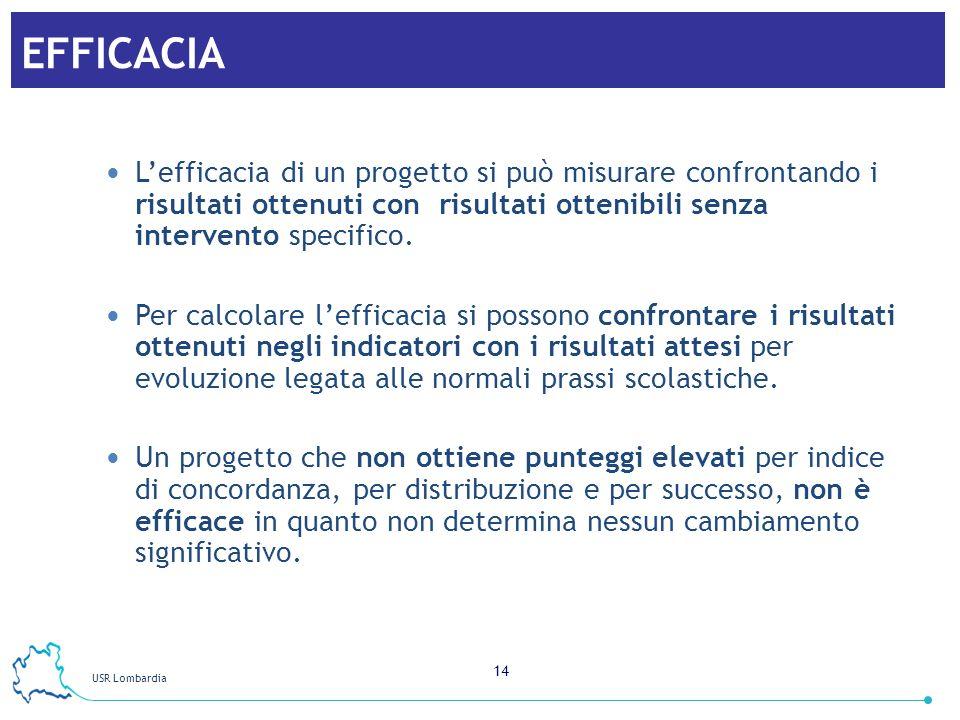 USR Lombardia 14 EFFICACIA Lefficacia di un progetto si può misurare confrontando i risultati ottenuti con risultati ottenibili senza intervento speci