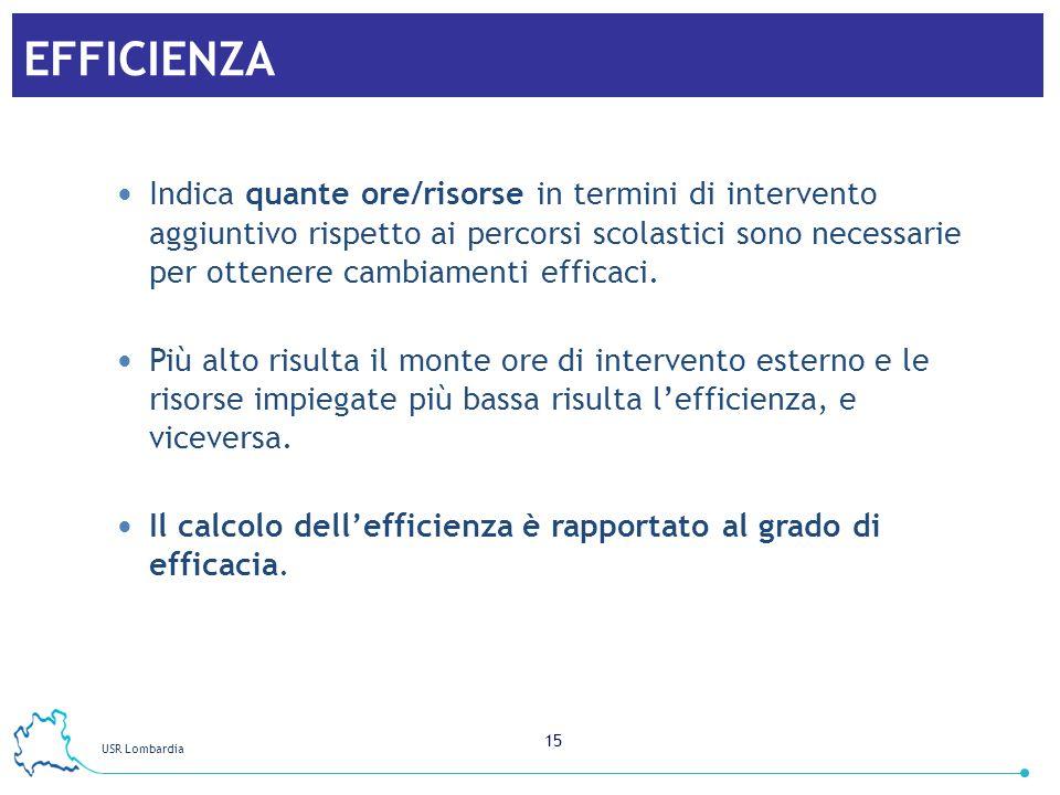 USR Lombardia 15 EFFICIENZA Indica quante ore/risorse in termini di intervento aggiuntivo rispetto ai percorsi scolastici sono necessarie per ottenere