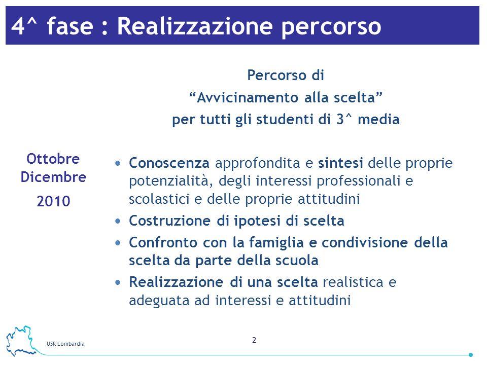 2 4^ fase : Realizzazione percorso Percorso di Avvicinamento alla scelta per tutti gli studenti di 3^ media Conoscenza approfondita e sintesi delle pr
