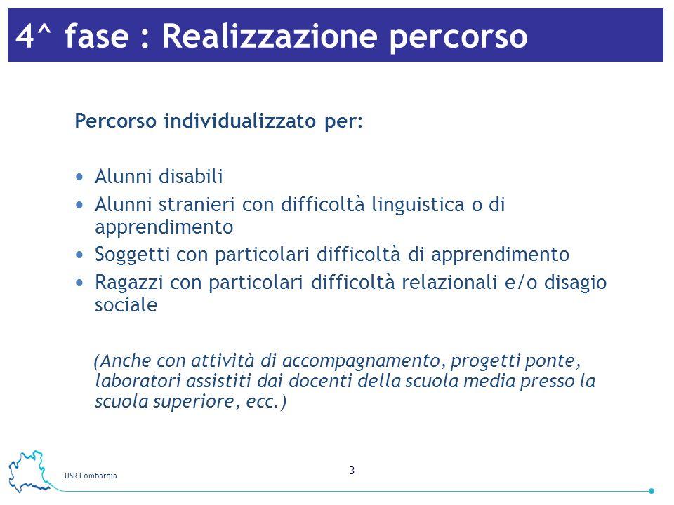 USR Lombardia 3 4^ fase : Realizzazione percorso Percorso individualizzato per: Alunni disabili Alunni stranieri con difficoltà linguistica o di appre