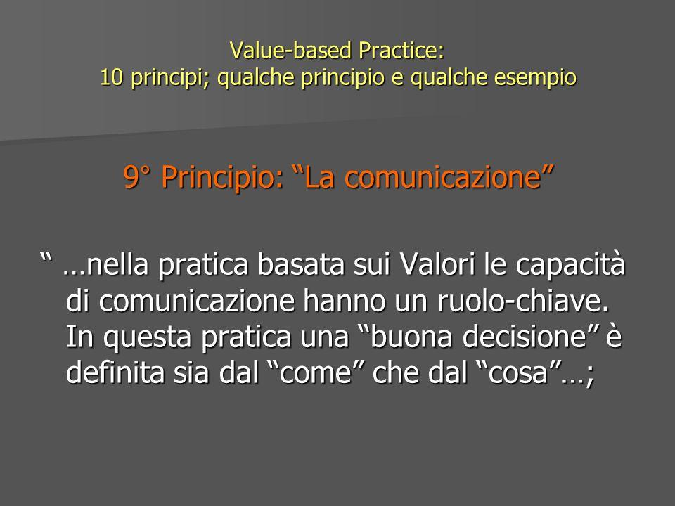 Value-based Practice: 10 principi; qualche principio e qualche esempio 9° Principio: La comunicazione …nella pratica basata sui Valori le capacità di