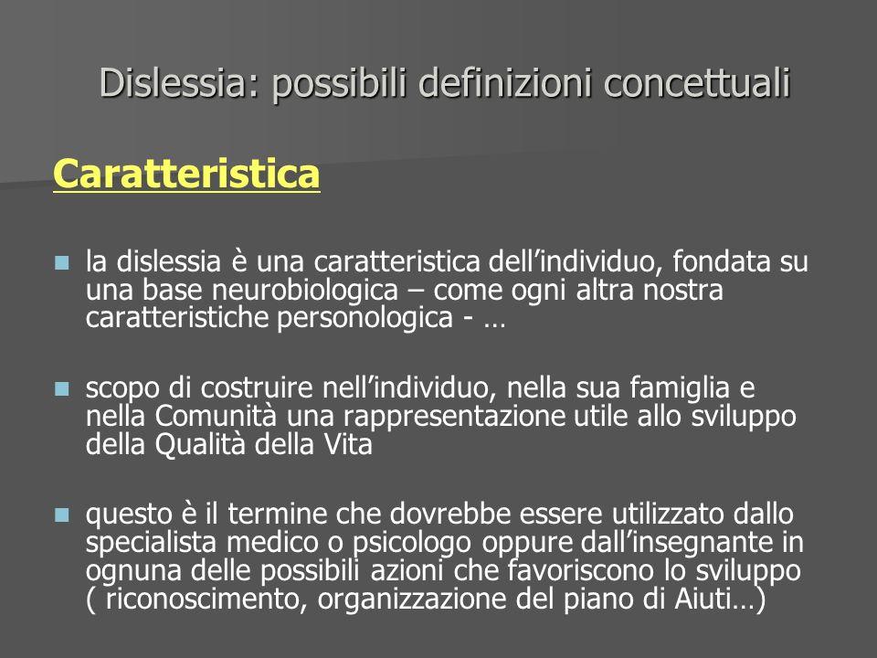Dislessia: possibili definizioni concettuali Dislessia: possibili definizioni concettuali Caratteristica la dislessia è una caratteristica dellindivid