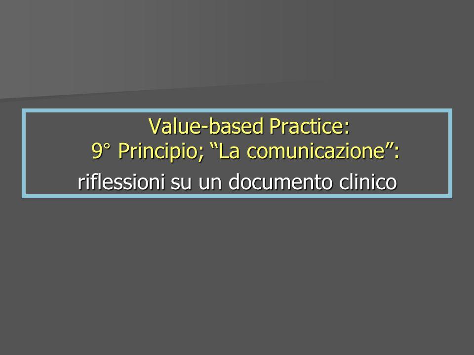 Value-based Practice: 9° Principio; La comunicazione: Value-based Practice: 9° Principio; La comunicazione: riflessioni su un documento clinico