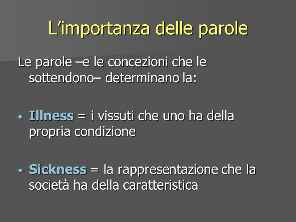 Limportanza delle parole Le parole –e le concezioni che le sottendono– determinano la: Illness = i vissuti che uno ha della propria condizione Illness