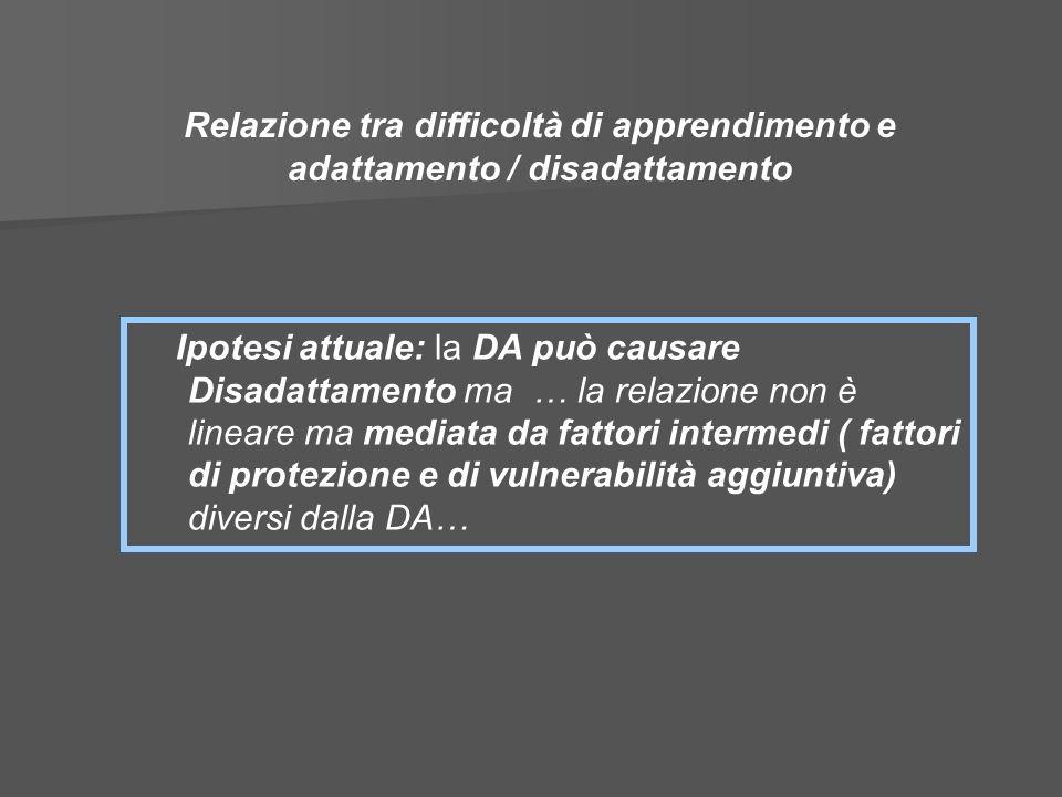 Ipotesi attuale: la DA può causare Disadattamento ma … la relazione non è lineare ma mediata da fattori intermedi ( fattori di protezione e di vulnera