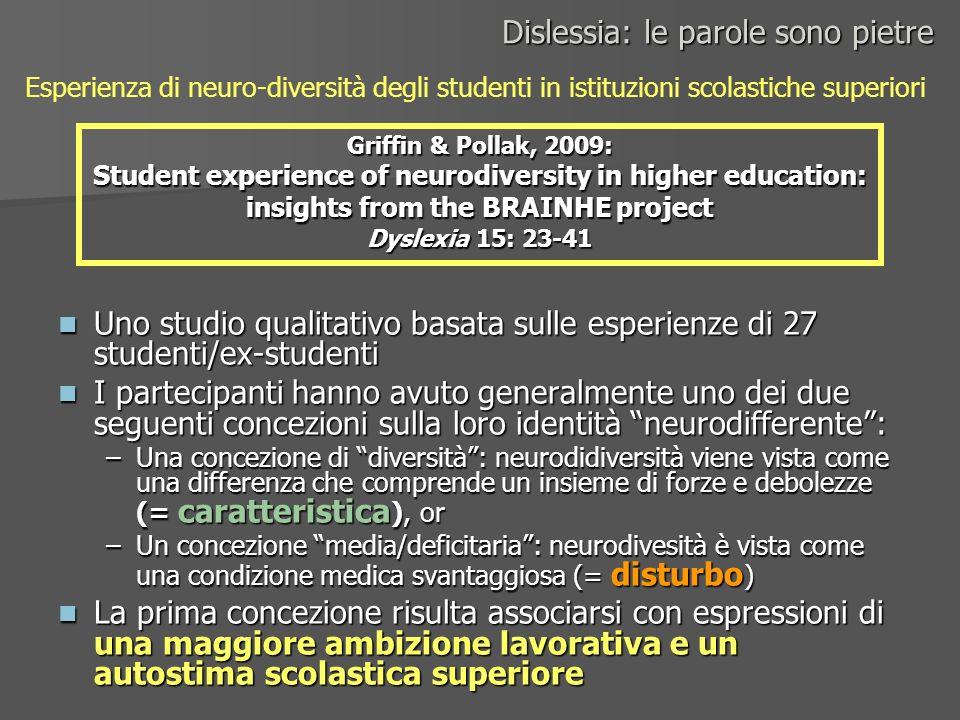 Uno studio qualitativo basata sulle esperienze di 27 studenti/ex-studenti Uno studio qualitativo basata sulle esperienze di 27 studenti/ex-studenti I