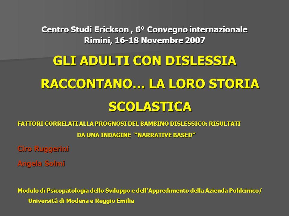 Centro Studi Erickson, 6° Convegno internazionale Rimini, 16-18 Novembre 2007 GLI ADULTI CON DISLESSIA RACCONTANO… LA LORO STORIA SCOLASTICA FATTORI C