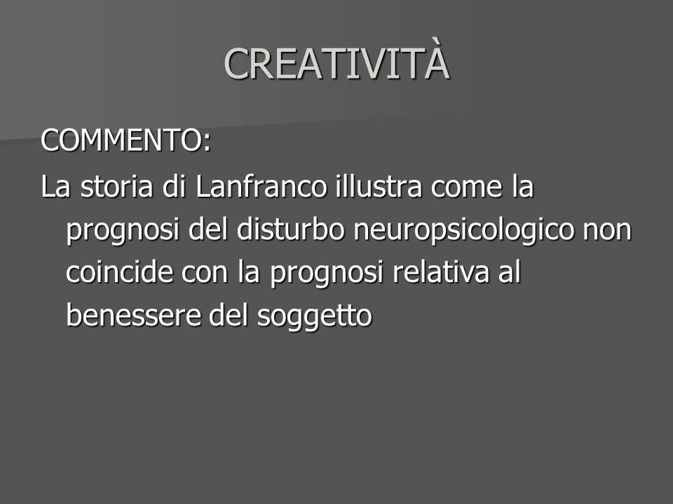 CREATIVITÀ COMMENTO: La storia di Lanfranco illustra come la prognosi del disturbo neuropsicologico non coincide con la prognosi relativa al benessere