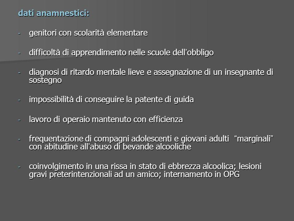 dati anamnestici: - genitori con scolarit à elementare - difficolt à di apprendimento nelle scuole dell obbligo - diagnosi di ritardo mentale lieve e