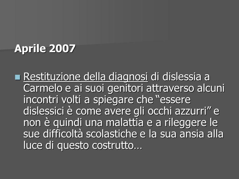 Aprile 2007 Restituzione della diagnosi di dislessia a Carmelo e ai suoi genitori attraverso alcuni incontri volti a spiegare che essere dislessici è