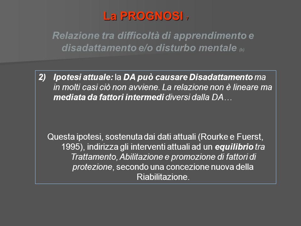La PROGNOSI 7 2)Ipotesi attuale: la DA può causare Disadattamento ma in molti casi ciò non avviene. La relazione non è lineare ma mediata da fattori i