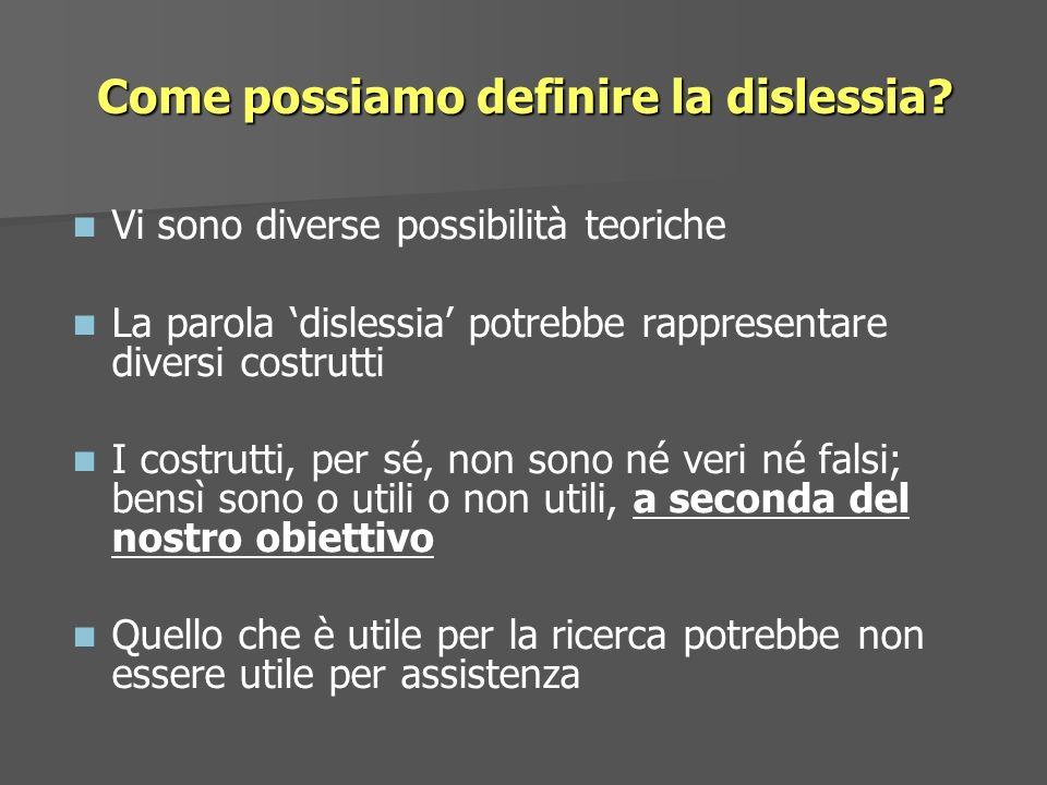 Vi sono diverse possibilità teoriche La parola dislessia potrebbe rappresentare diversi costrutti I costrutti, per sé, non sono né veri né falsi; bens