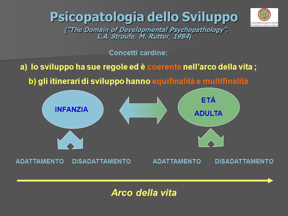 Psicopatologia dello Sviluppo (The Domain of Developmental Psychopathology, L.A. Stroufe, M. Rutter, 1984) Concetti cardine: a)lo sviluppo ha sue rego