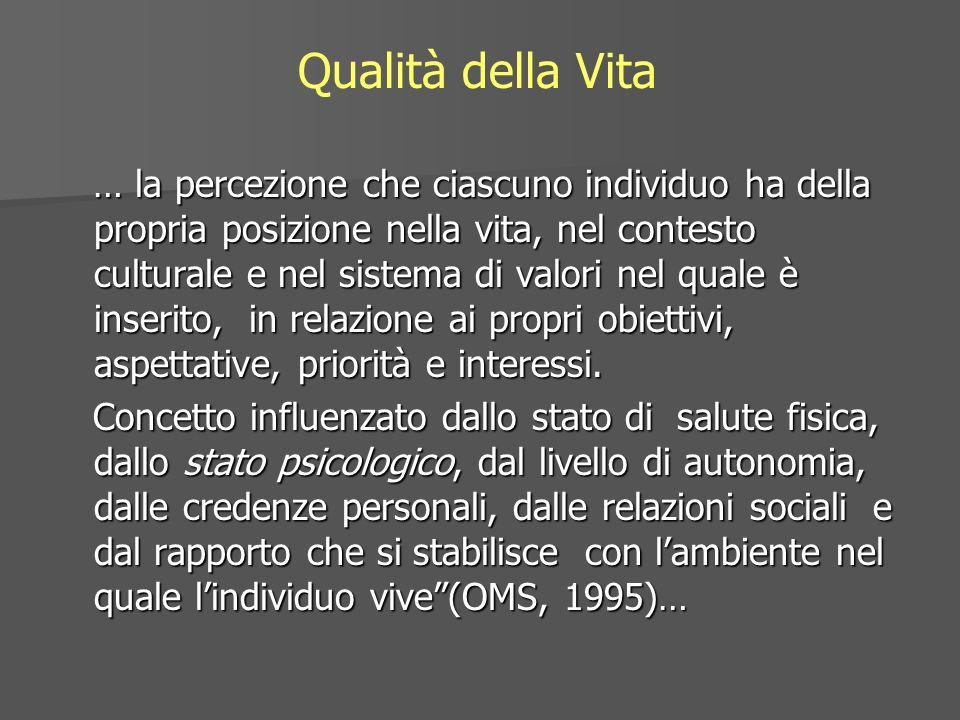 Qualità della Vita … la percezione che ciascuno individuo ha della propria posizione nella vita, nel contesto culturale e nel sistema di valori nel qu