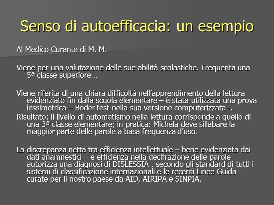 Senso di autoefficacia: un esempio Al Medico Curante di M. M. Viene per una valutazione delle sue abilità scolastiche. Frequenta una 5ª classe superio