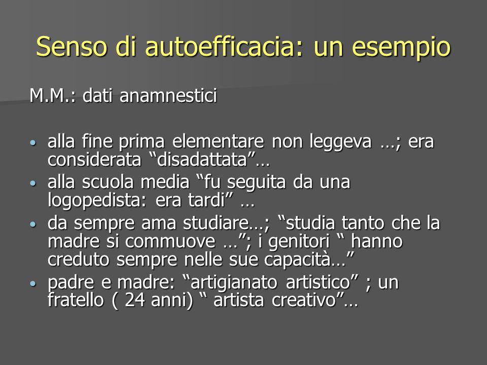 Senso di autoefficacia: un esempio M.M.: dati anamnestici alla fine prima elementare non leggeva …; era considerata disadattata… alla fine prima eleme