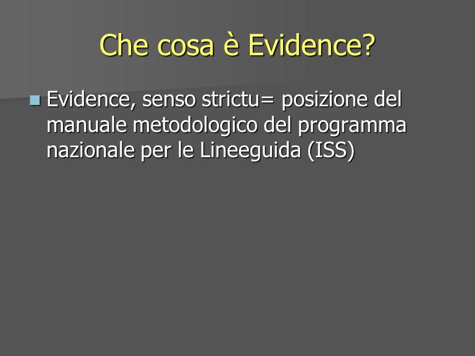 Che cosa è Evidence? Evidence, senso strictu= posizione del manuale metodologico del programma nazionale per le Lineeguida (ISS) Evidence, senso stric