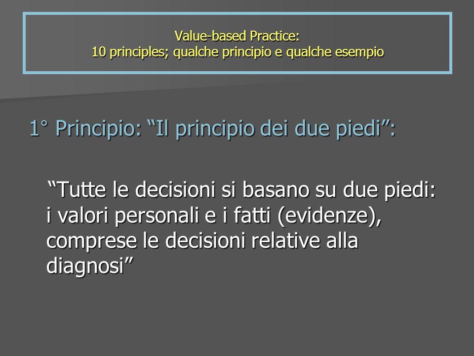 Value-based Practice: 10 principles; qualche principio e qualche esempio 1° Principio: Il principio dei due piedi: Tutte le decisioni si basano su due