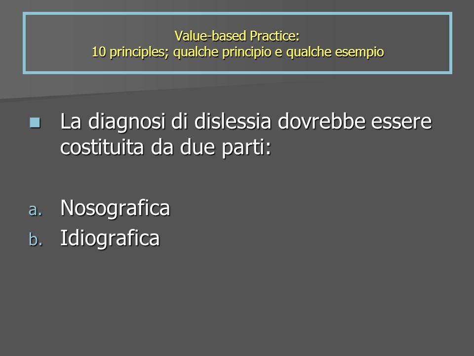 La diagnosi di dislessia dovrebbe essere costituita da due parti: La diagnosi di dislessia dovrebbe essere costituita da due parti: a. Nosografica b.