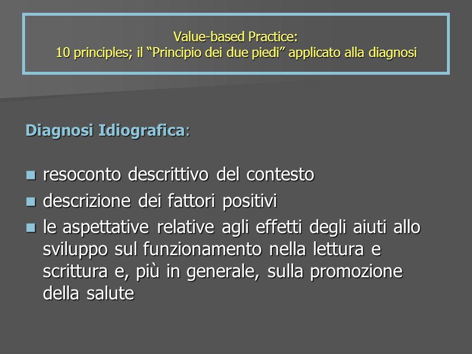 Value-based Practice: 10 principles; il Principio dei due piedi applicato alla diagnosi Diagnosi Idiografica: resoconto descrittivo del contesto resoc