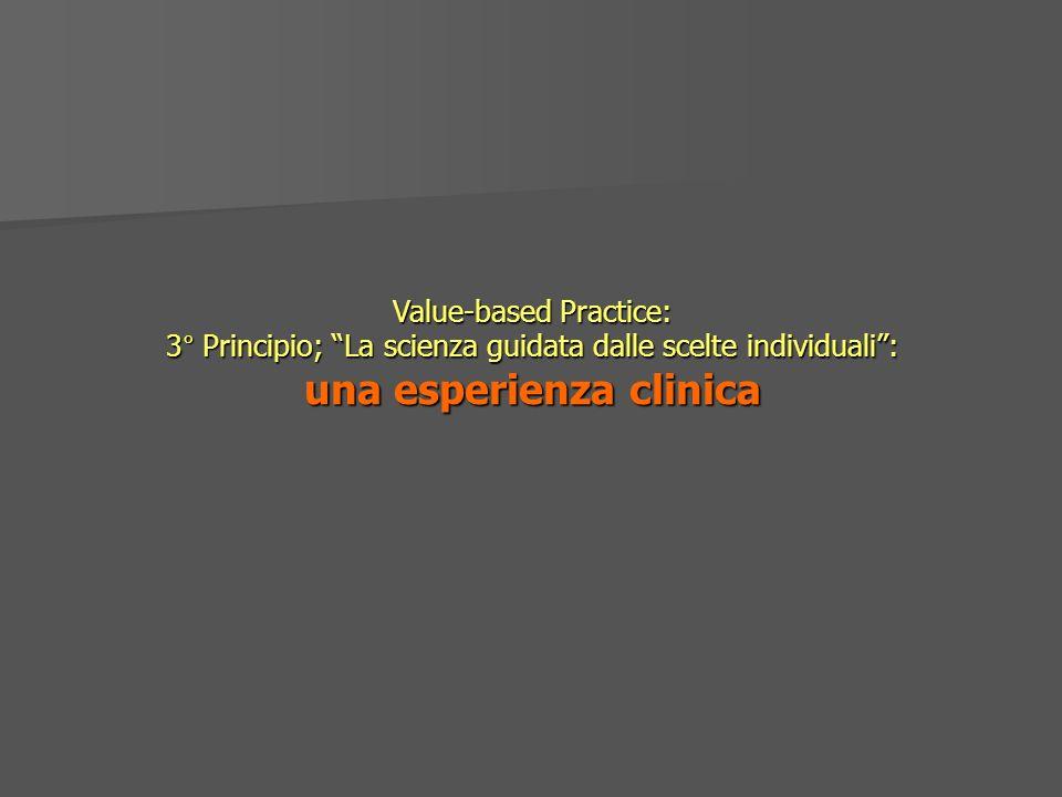 Value-based Practice: 3° Principio; La scienza guidata dalle scelte individuali: una esperienza clinica