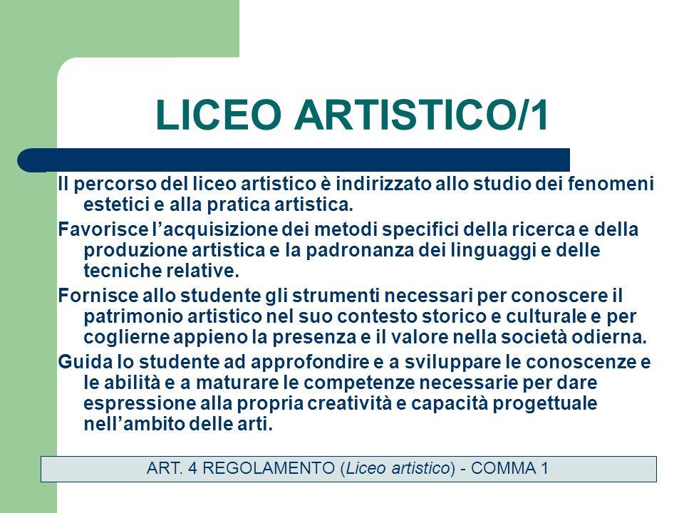 LICEO ARTISTICO/1 Il percorso del liceo artistico è indirizzato allo studio dei fenomeni estetici e alla pratica artistica.