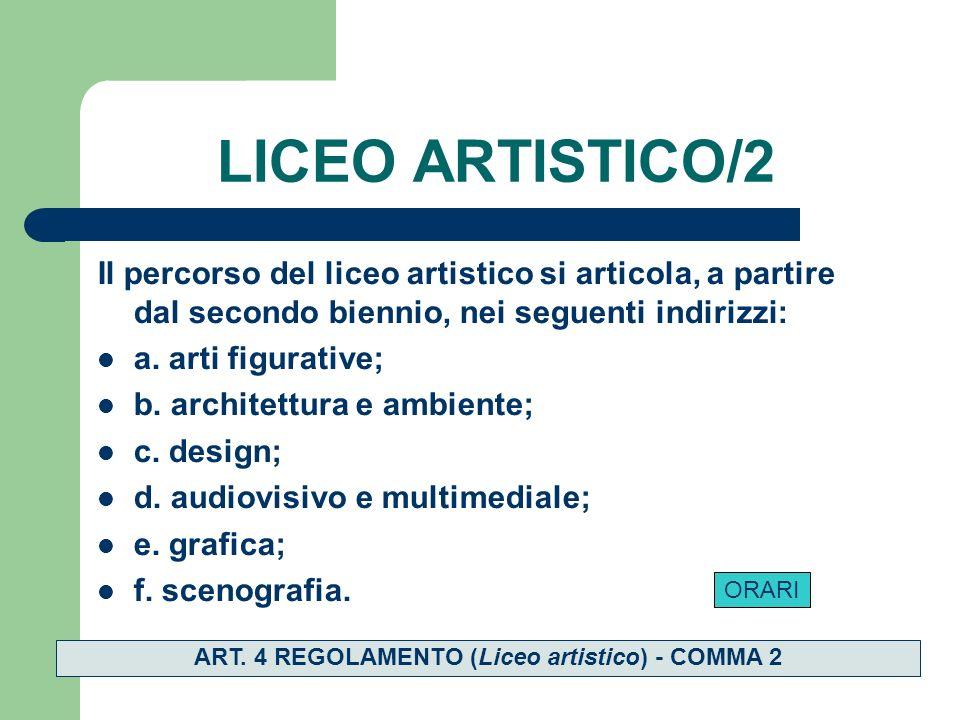 LICEO ARTISTICO/2 Il percorso del liceo artistico si articola, a partire dal secondo biennio, nei seguenti indirizzi: a.