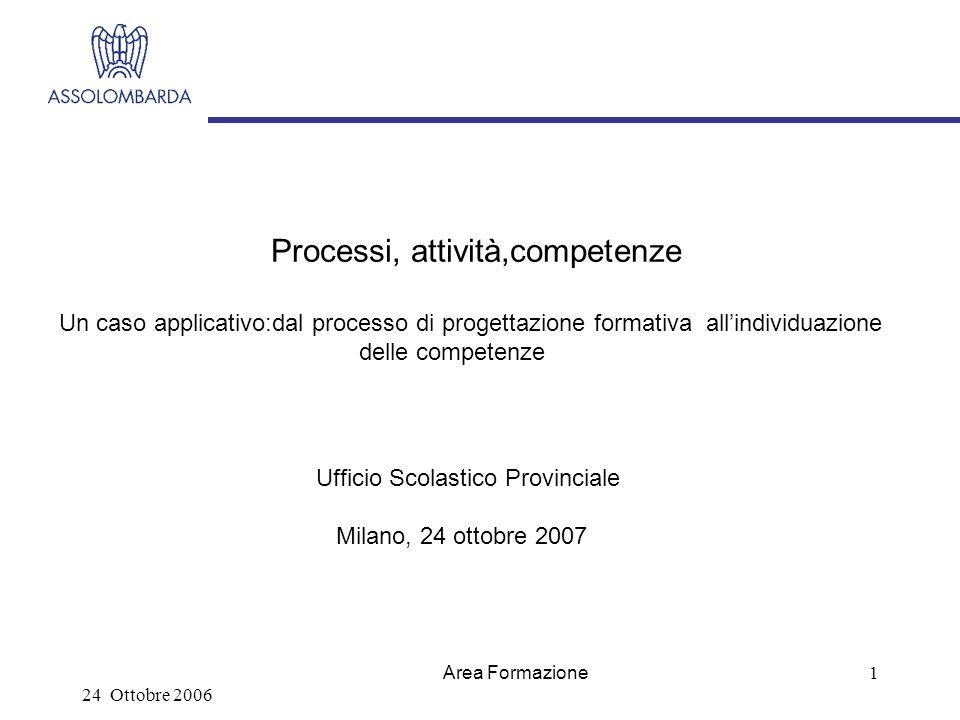 24 Ottobre 2006 Area Formazione 1 Processi, attività,competenze Un caso applicativo:dal processo di progettazione formativa allindividuazione delle competenze Ufficio Scolastico Provinciale Milano, 24 ottobre 2007