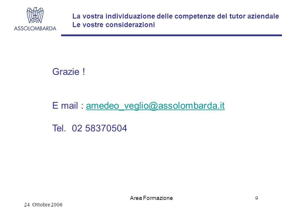 24 Ottobre 2006 Area Formazione 9 La vostra individuazione delle competenze del tutor aziendale Le vostre considerazioni Grazie .
