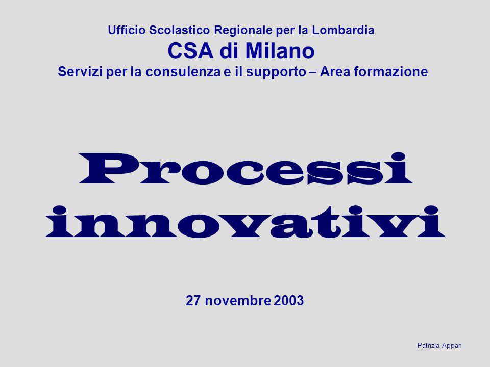 Ufficio Scolastico Regionale per la Lombardia CSA di Milano Servizi per la consulenza e il supporto – Area formazione 27 novembre 2003 Patrizia Appari