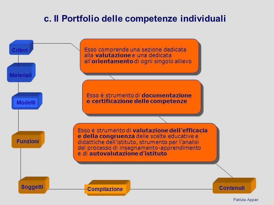 c. Il Portfolio delle competenze individuali Esso comprende una sezione dedicata alla valutazione e una dedicata allorientamento di ogni singolo allie