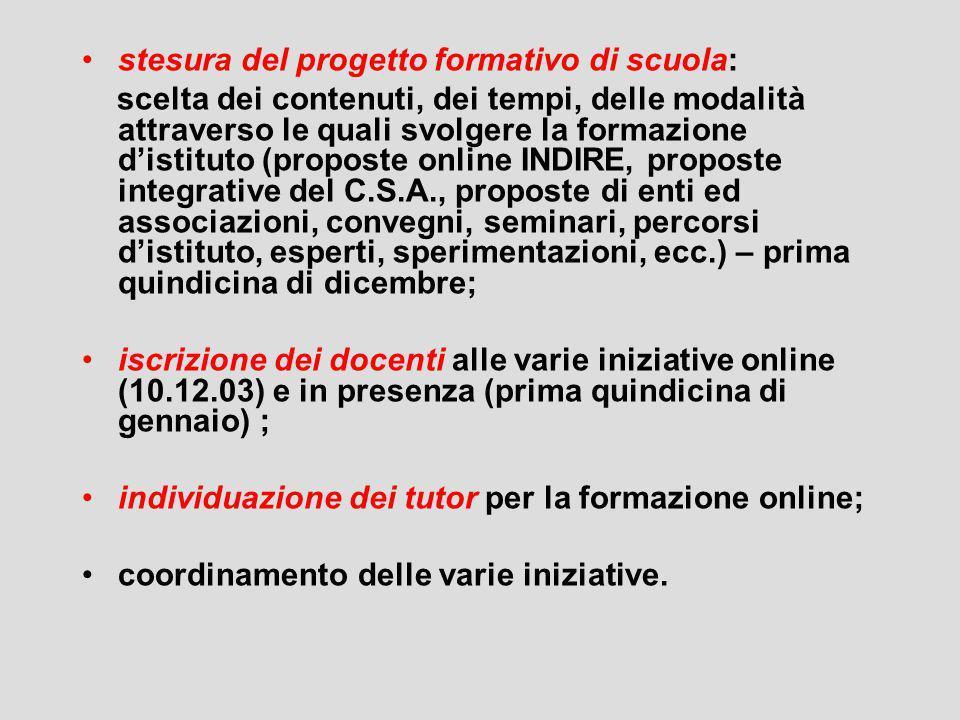stesura del progetto formativo di scuola: scelta dei contenuti, dei tempi, delle modalità attraverso le quali svolgere la formazione distituto (propos